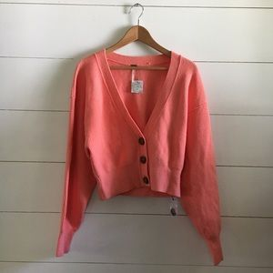 NWT Free People Cropped Sweater Button Up Coral SM